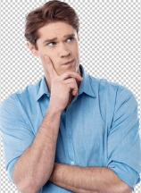 Young man thinking something