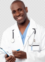 Doctor in a uniform holding a clipboard