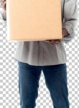 Smiling aged holding carton box