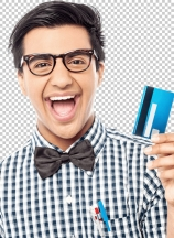 Laughing guy holding credit card