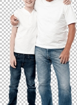Casual full length shot of a father and son
