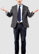 Middle aged businessman with open hands
