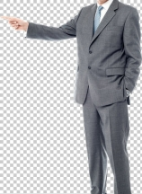 Happy businessman pointing on copy space
