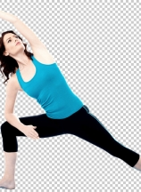 Young woman exercise over white background
