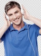 Cheerful young man enjoying music