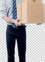 Handsome young man with with stack of boxes