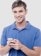 Happy young man using mobile