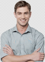 Smiling young man posing casually