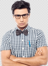 Young serious man with bowtie