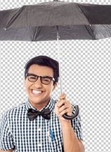 Smiling young man with an umbrella
