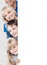 Family of four behind blank whiteboard