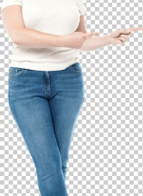 Happy woman pointing copy space