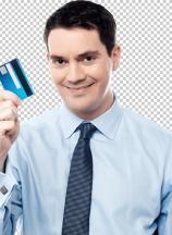 Corporate man holding debit card