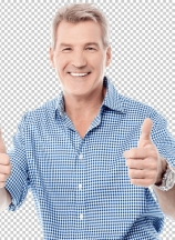 Handsome man gesturing double thumbs up