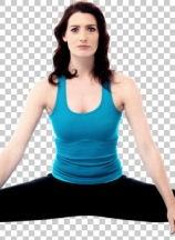 Pretty young woman doing stretching exercises