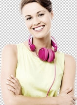 Pretty woman with ear phones