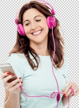 Middle aged woman enjoying listening music