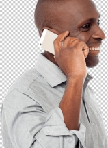 African male using is cell phone