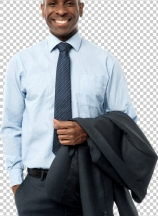 African smiling businessman, hands in pockets