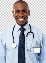 Confident happy physician posing
