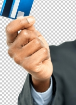 Male hand holding up a credit card