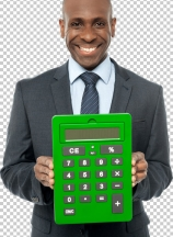 Corporate man showing big green calculator