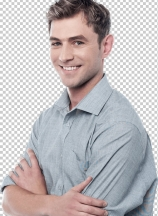 Confident young casual man thinking