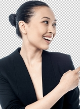 Corporate young woman pointing away