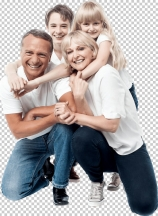 Portrait of affectionate family of four in the studio