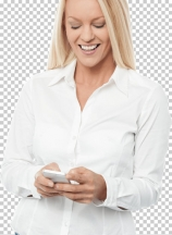 Happy woman with mobile phone