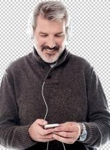 Handsome man enjoying music on his mobile