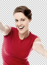 Ecstatic woman with open arms