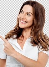 Happy smiling woman showing copyspace