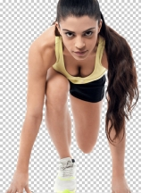 Young athletic woman in position ready to run
