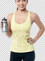 Cheerful fitness woman holding sipper bottle