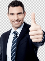 Successful businessman showing thumbs up gesture