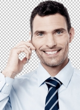 Smiling corporate man using his mobile phone