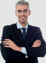 Senior business executive with arms folded