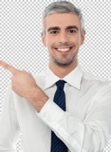 Happy man pointing at something