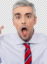 Amazed man with open mouth