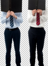 Businessmen hiding their faces with files