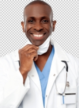 Male physician wearing surgical mask