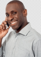 Cheerful guy using his mobile phone