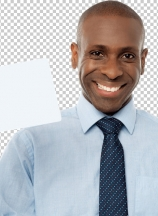 Smiling african man holding blank white card