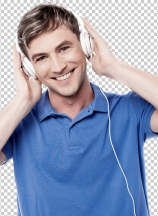 Cheerful young man enjoying music