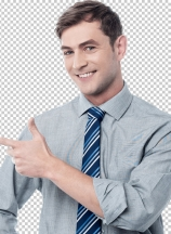 Cheerful young man pointing at something