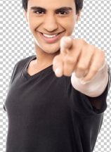 Young smiling guy pointing you out