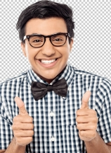 Young man showing double thumbs up