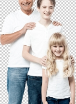 Happy father with children standing in row