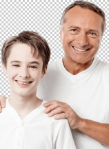 Happy father and son over white background